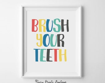 kids bathroom decor ,brush your teeth,bathroom wall art, bathroom printable,bathroom art,Printable Wall Art, kids bathroom art