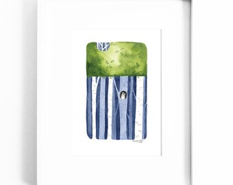 Watercolor print, illustration, wall decor, trees, owl, intrigue mystery whimsy - Amongst the trees no. 5
