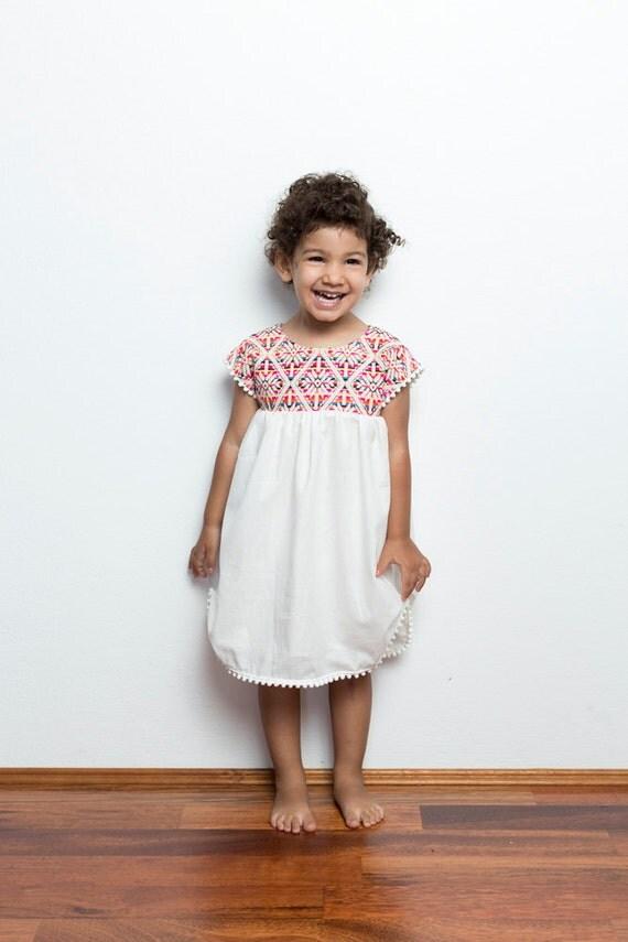 Mexican Pom Pom Dress Girls Mexican Dress Vestidos