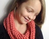 On Sale...Girl's, Coral, Crochet, Infinity Scarf/ Cowl scarf/Circle Scarf/Gift Idea under 15 for Girls