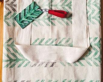Handprinted black and green chevron/herringbone tote bag with pocket