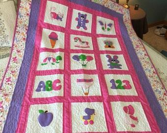 Girl Applique quilt, blanket quilt, twin quilt, pink, purple, quilt, little girl