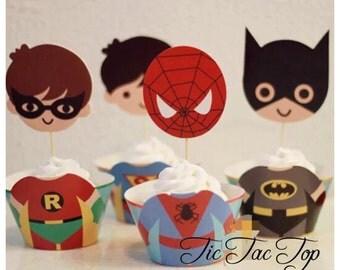 12pcs superhero Cupcake BIG Toppers + Wrappers. Batman, Robin, Superman & Spiderman. Party Supplies Decoration