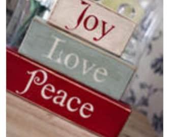 Vintage Joy Love Peace Shelf Blocks