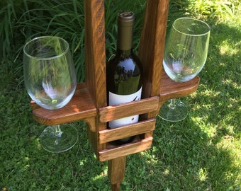 Wine and glass holder with stake