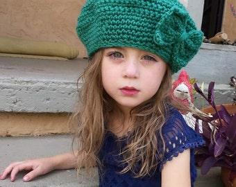 Aqua beret with bow