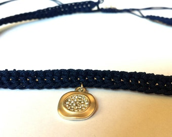 Choker necklace with charm, elegant crochet choker, blue choker