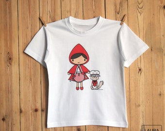 t-shirt girl Red Riding Hood / tee-shirt girl Little Red Riding Hood / digital print / Little Red Riding Hood and wolf