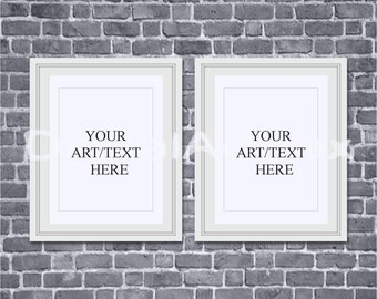8x10 White Frame,Set of Two,16x20,Mockup Frame 24x30 Black Brick Background,Framed Art,Styled Photography Mockup,Instant Download