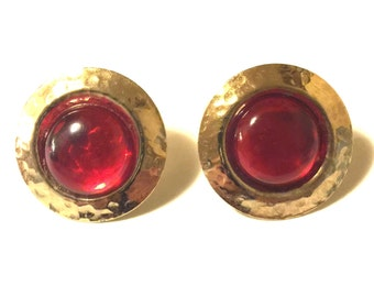 1980s red and gold round pierced earrings
