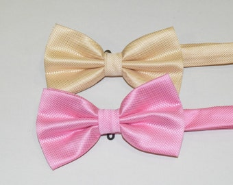 Tie bow pink or cream Bow tie, bow tie, brooch, necktie knot wedding, bow tie man and woman, original gifts for her or for the