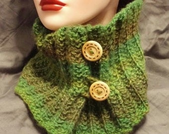 Handmade, Hand Knit, Wool Blend Green Buttoned Cowl Neck Warmer