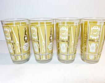 Vintage Barware Glasses featuring Midcentury Americana Images - set of 4, 12 oz Mustard Gold