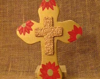 Poinsettia Cross, Christmas Cross, wooden wall cross, Wood cross wall art, Religious Wall, Christian Decor, Christmas decor, Wood Wall Art