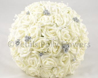 Artificial Wedding Flowers, Ivory & Silver Rose Brides Bouquet Posy