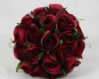 Artificial Wedding Flowers, Burgundy Bridesmaids Bouquet Posy