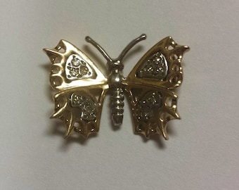 14K Yellow/White Gold and Diamond Butterly Pendant