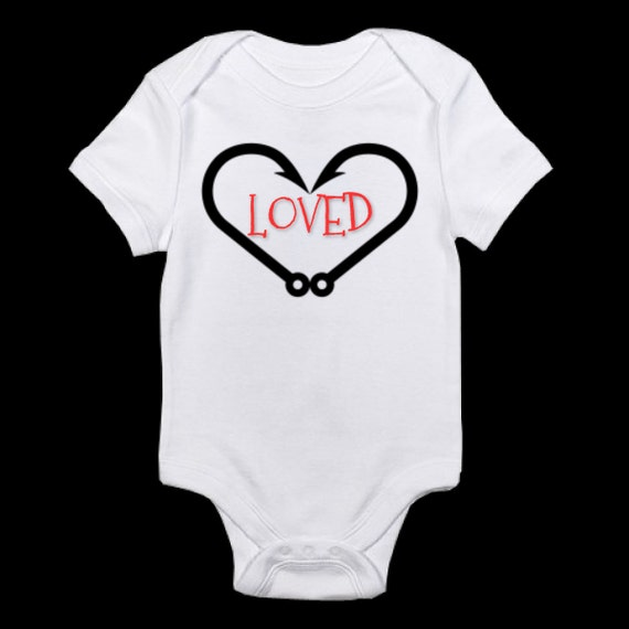 Fish hook valentines onesie for baby by sweetsassymadedesign for Fishing shirt of the month