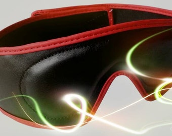 Leather blindfold eyemask with velcro closure