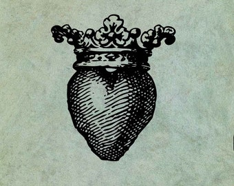 Crowned Heart  - Antique Style Clear Stamp