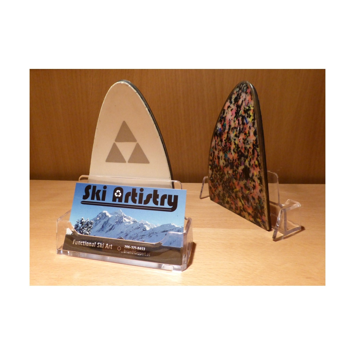 ski tip business card holder by skiartistry on etsy
