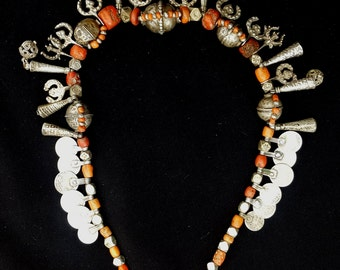 Morocco-Ethnic ancient Silver necklace, beautiful coral beads, ancient coins and finely worked pendants