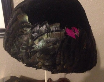 1960s black velvet and feather hat