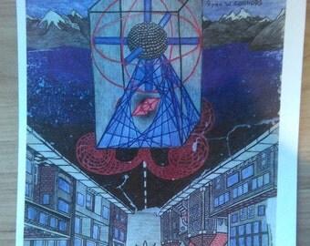 Nuclear pyramid art print
