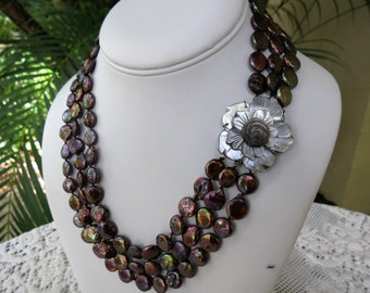Cultured Black Pearl Necklace with Carved Mother of Pearl Clasp