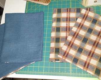 Blue and plaid or  custom fabric spiral notebook with pad