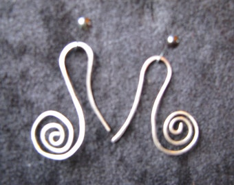 Small silver spiral drop earrings