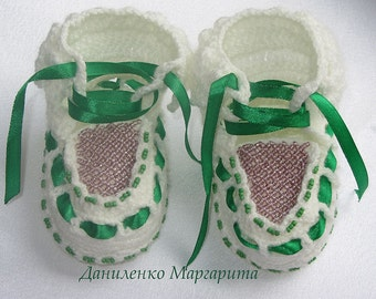 Crochet Baby Booties. Baby booties with beads. Knitted booties.