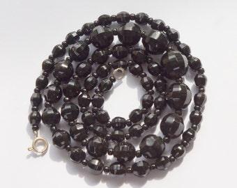 BLACK NECKLACE - VINTAGE Black necklace - long black necklace - simple black beaded vintage glass bead necklace - vintage black glass beads