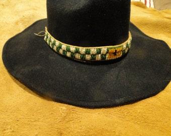 Beaded Hat Band or Bag Strap on Deer Brain Tan