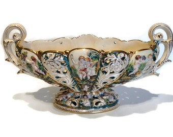 Capodimonte Porcelain - Capodimonte Centerpiece - Capodimonte Cherub - Capodimonte Italy Porcelain - Vintage Pedestal Compote