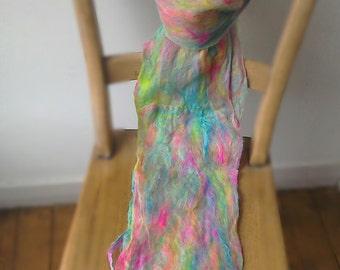 Scarf - felted merino wool cobweb scarf