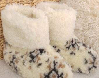 Natural Sheep Wool Boots Cozy Foot Slippers Sheepskin Women's Men's