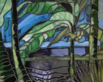Tropical Stained glass panel, Stained glass window, stained glass panel