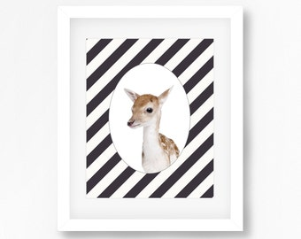 Deer print - Fawn photography print - Geometric pattern background - Black and white stripes - Deer photo print - kids room decor