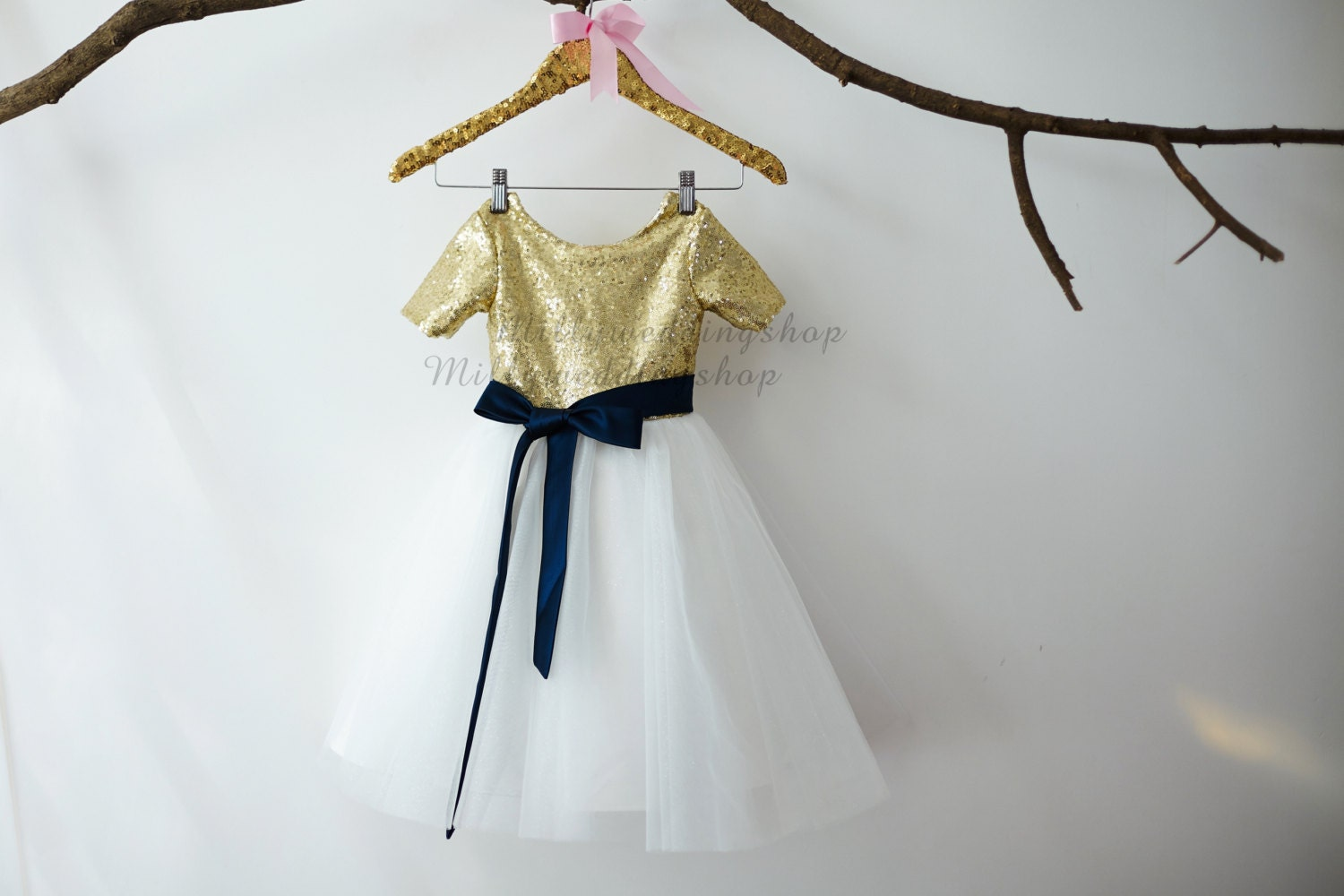 Short sleeves gold sequin ivory tulle flower girl dress junior short sleeves gold sequin ivory tulle flower girl dress junior bridesmaid wedding party dress with navy blue sash m0011 ombrellifo Gallery
