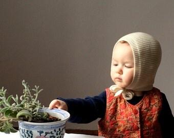 Off White Baby Bonnet 100% Merino wool