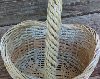 Woven Vintage Basket French Wicker and Rope Basket Natural Color with High Handle Easter Basket Easter Decor