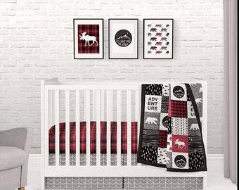 NURSERY BED SET - plaid blanket, crib sheet . Baby blanket , baby quilt , adventure nursery bedding, baby gift