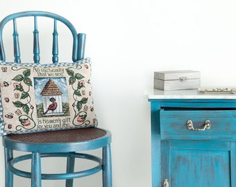 old wooden chair turquoise