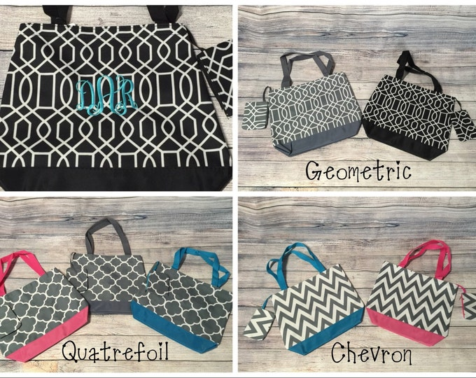 Monogrammed / Personalized Tote bag with coin purse- Chevron, Geometric & Quatrefoil