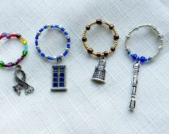 Dr. Who Inspired Glass Beaded Wine Charms