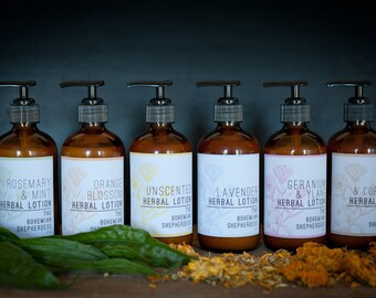 Natural Lotion // Herbal Lotion  // Lavender // Unscented // Geranium and Ylang // Ginger and Coriander // Rosemary Mint // Orange Blossom