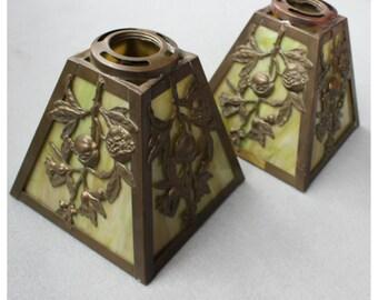 S1073 Antique. Pair of Victorian Cast Brass & Slag Glass ReplacementShades