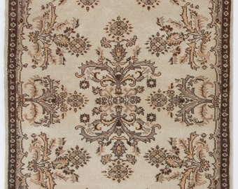 4x6.7 Ft Muted Vintage Oushak Rug. Neutral colors; beige, brown, taupe and soft faded pink. Decorative old handmade Turkish carpet. Y9