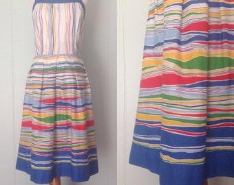 1970s Jenni Sun Dress   70s Striped Dress   Vintage Blue Day Dress